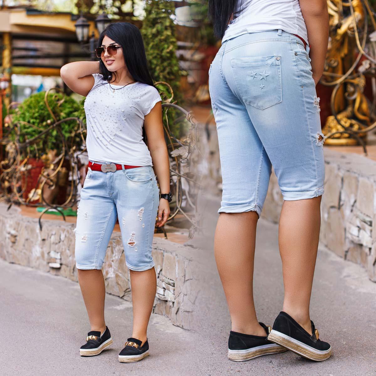 Женские стильные джинсы-бриджи в больших размерах 0303 WOOX