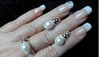 Красивое серебряное кольцо БАГИРА 925 пробы с накладками золота 375 пробы.Серебро с золотой пластиной, фото 1