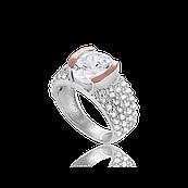 Серебряное кольцо ДЕНЕТРА 925 пробы с накладками золота 375 пробы.Серебряное кольцо с золотой пластиной