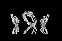 НАБОР серебряные серьги 925 пробы и кольцо с золотыми пластинами 375 пробы,вставками,накладками ЗОЛОТА ВАЛЕРИ