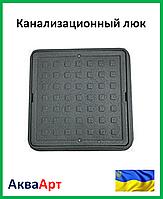 """Канализационный люк """"Ромашка"""" полимерный (чёрный) 1,5т 420х540"""