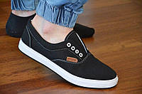 Кеды типа Vans Ванс слипоны мокасины мужские черные текстиль на шнурках стильные. Топ