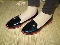 Балетки ЧЕРНЫЕ Джузеппе, с красной подкладкой, цвет - черный