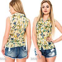 Шифоновая блузка  с принтом бабочек