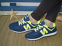 Кроссовки New Balance женские замшевые цветные сине-салатовые. Размер 38,39,40. Маломерят