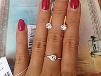 КОЛЬЦО серебряное со вставками золота АЛИСИЯ .кольцо с золотыми пластинами, фото 1