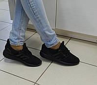 Женские Легкие кроссовки, материал-текстиль, цвет- Черный, со вставками