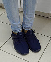 Женские Легкие кроссовки, материал-текстиль, цвет- Синий, со вставками