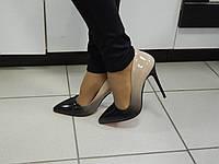 Женские Туфли - ЛОДОЧКИ омбре, на красной подошве, цвет: Черный носик +  Бежевая пятка, Турция, 11 см. каблук