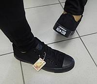 Женские Кеды Converse, цвет-ЧЕРНЫЙ, низкие ,текстиль,  подошва резина + коробка. Все лейбы оригинал
