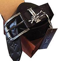 Ремень мужской кожаный(джинс) LOUIS VUITTON пряжка классическая(реплика).