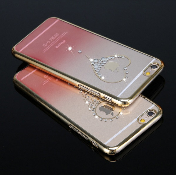 Чехол для iPhone 6 двухцветный со стразами