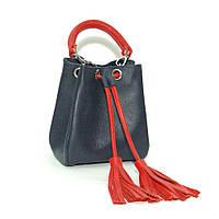Женская кожаная сумочка. М24 синий флотар с красным