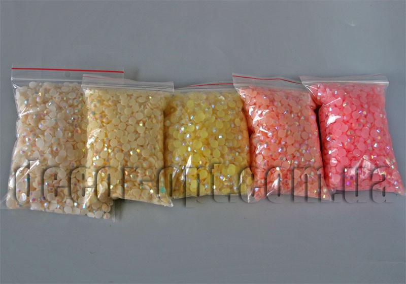 Камешки-половинки фигурные перл. 6.5 мм ~100г/~2000шт