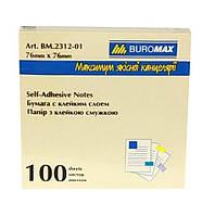 Бумага для заметок клейк. 76х76/100арк  желт. Buromax ВМ.2312-01