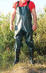 Забродный полукомбинезон для рыбалки зелёный с наколенниками