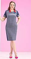 Платье Lissana-3099 белорусский трикотаж цвета джинс+горохи