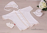 """Крестильная рубашка для мальчика """"Богдан"""" Brilliant Baby 4004 р.56 молочный айвори"""