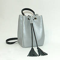Женская кожаная сумочка. М25 серебристый флотар с черным