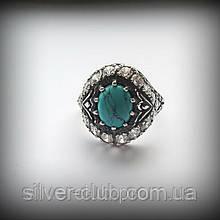 Кольцо Чалма с бирюзой из серебра 925 пробы