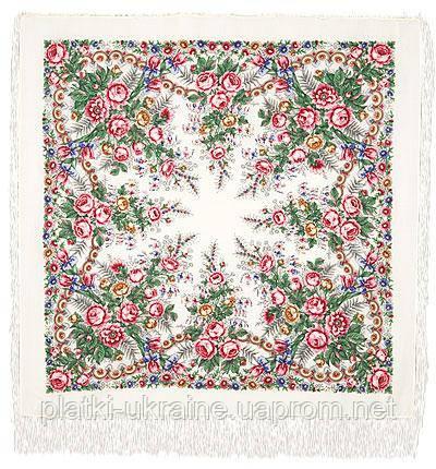 """Платок шерстяной с шелковой бахромой """"Весеннее утро"""", 125х125 см, рис. 555-1"""