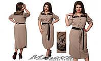 Платье в рубашечном стиле украшено вставками из кружева   размер 48-54