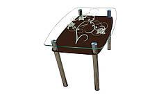Стеклянный стол Листва Шоколад