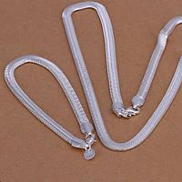 Набор Змейка 925 серебро проба (браслет и цепочка)