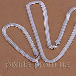 Набор Змейка покрытие 925 серебро проба (браслет и цепочка)