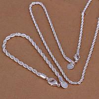 Набор спираль 925 серебро проба (браслет и цепочка)