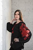 Блуза жіноча Диво-квітка , чорний колір