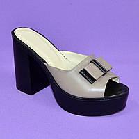 Шлепанцы кожаные женские на высоком устойчивом каблуке. Цвет визон. 37 размер