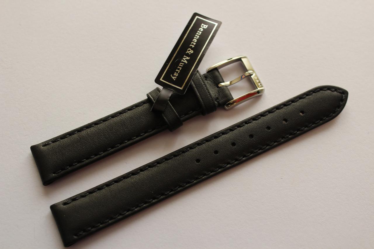 Кожаный ремень Bennett&Murray-ремень из натуральной кожи черный гладкий 15 мм