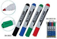 Маркер для доски Buromax набор 4шт BM.8800-04 сухостираемый (черный, синий, зеленый, красный)