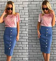 Стильная джинсовая жеская юбка карандаш на пуговицах В20227