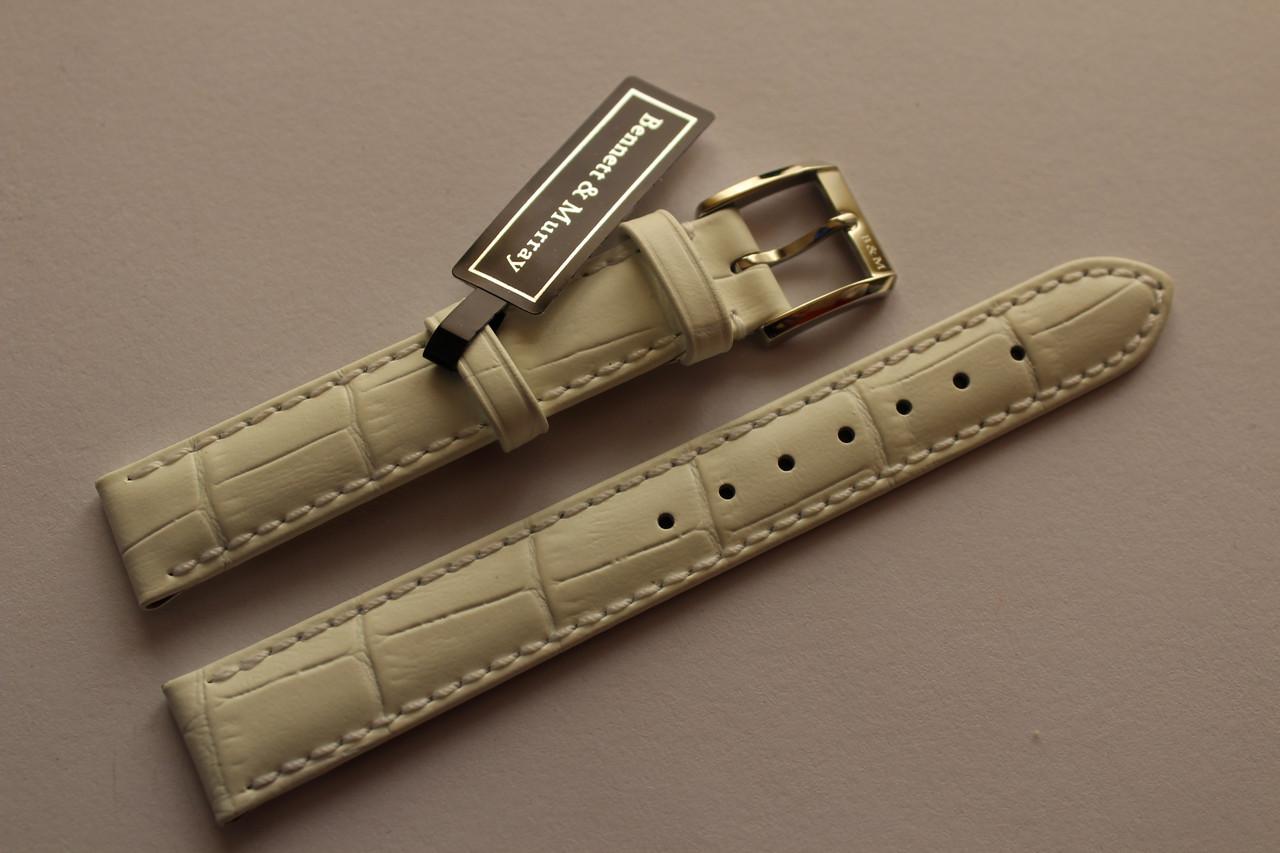 Кожаный ремень Bennett&Murray-ремень из натуральной кожи белый под крокодил 15 мм