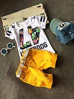 Комплект футболка + горчичные шорты для мальчика