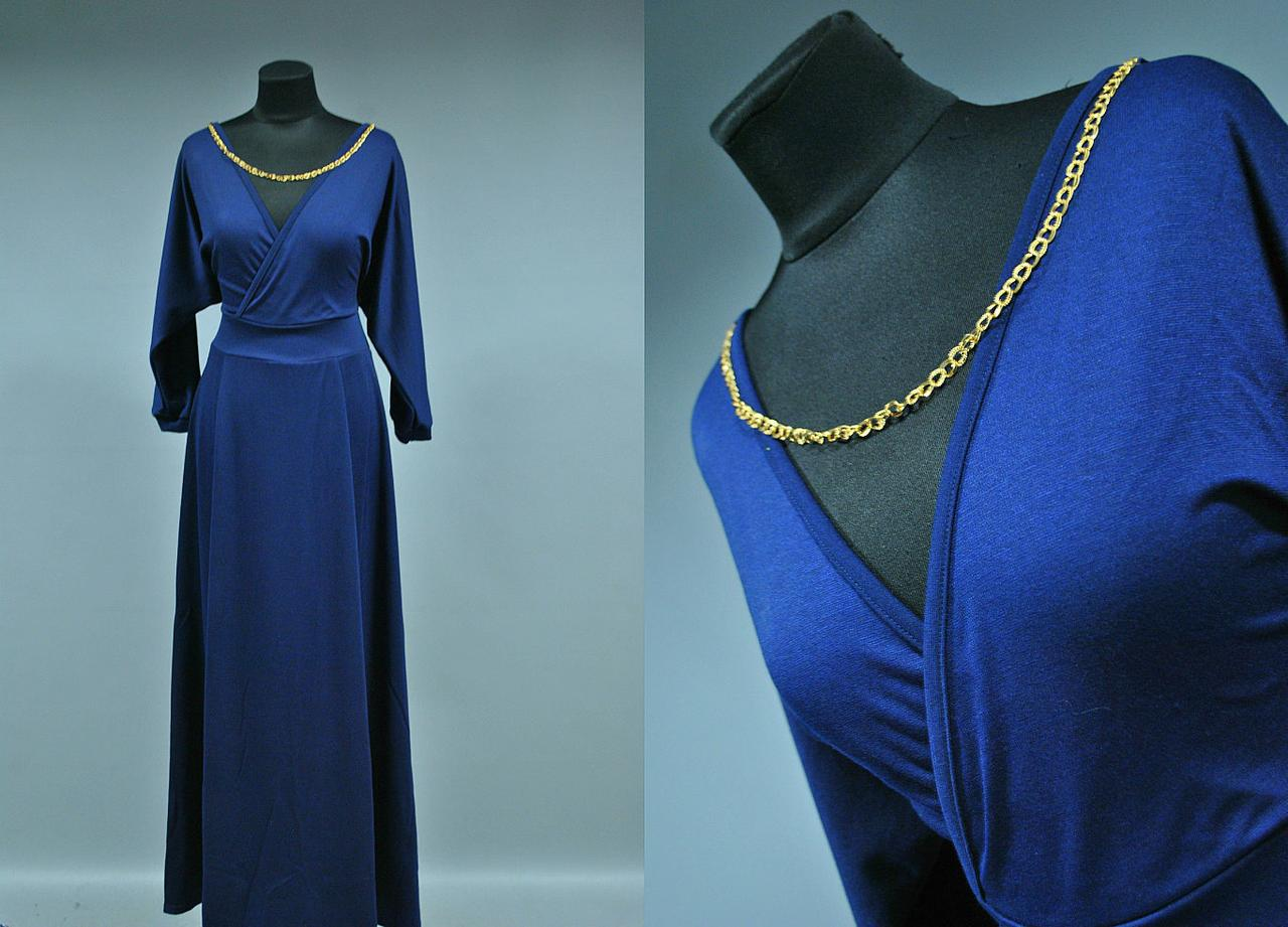 Шикарное женское платье в пол с украшением
