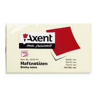 Блок бумаги Axent 2316-01-A с липким слоем 75x125мм, 100 листов, желтая  2316-01-A