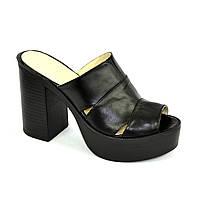 Женские сабо на высоком устойчивом каблуке, из натуральной кожи черного цвета