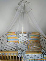 """Комплект детской постели с бортиками подушечками в кроватку новорожденного- """"Сладкий сон"""" 8 ед."""