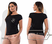 """Стильная женская футболка """"Кошка"""" для пышных дам"""