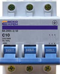 Автоматический выключатель УКРЕМ ВА-2001 3р 10А АсКо