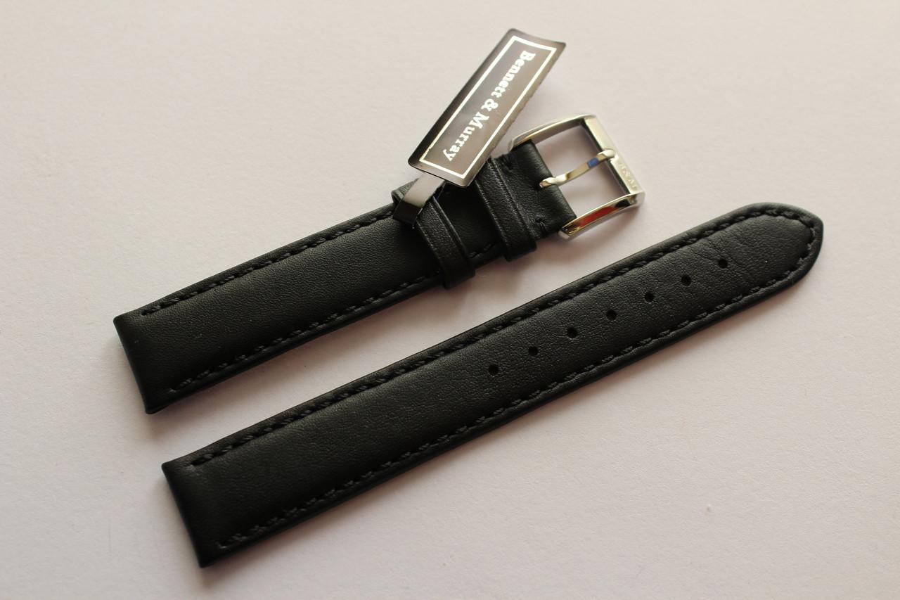 Кожаный ремень Bennett&Murray-ремень из натуральной кожи черный гладкий 17 мм