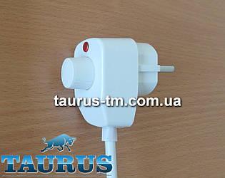 Белый регулятор на вилке для электроТЭНов, ламп: мощностью до 500Вт., с индикатором. Димер Турция