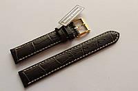 Кожаный ремень Bennett&Murray-ремень из натуральной кожи коричневый с белой прошивкой под крокодил 17 мм