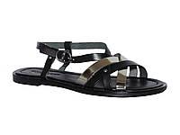 Женские кожаные сандалии с лаковыми лямками