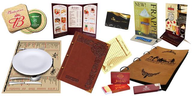 Полиграфия для кафе, ресторанов, отелей - папки меню, счета официанта, дисконтные карточки и др.