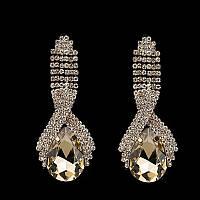 Серьги  с кристаллами и крупными камнями