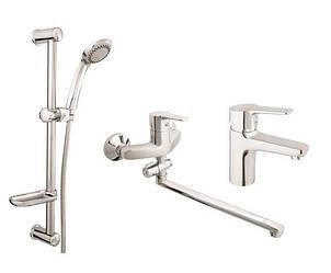 Набор смесителей Rubineta для ванны, умывальника и душа Set Uno-12/C + Uno-18 + Varianta-Delta
